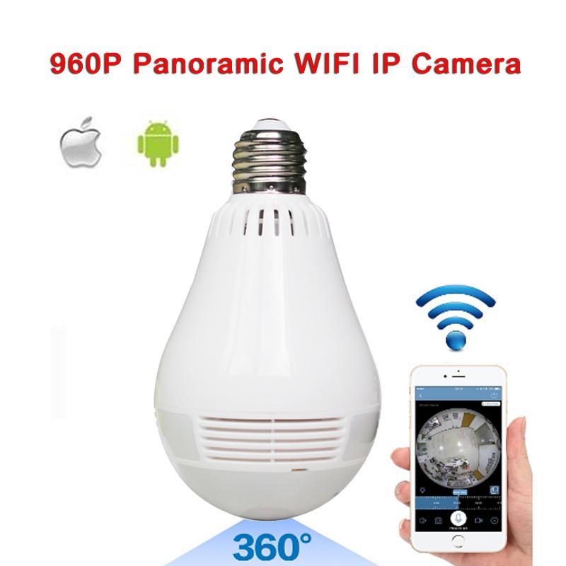Lamp Camera Bulb Light Wireless HD IP Camera Wifi Home Security Fisheye 360  Panoramic P2P Audio Surveillance 960P V380 Onvif cam