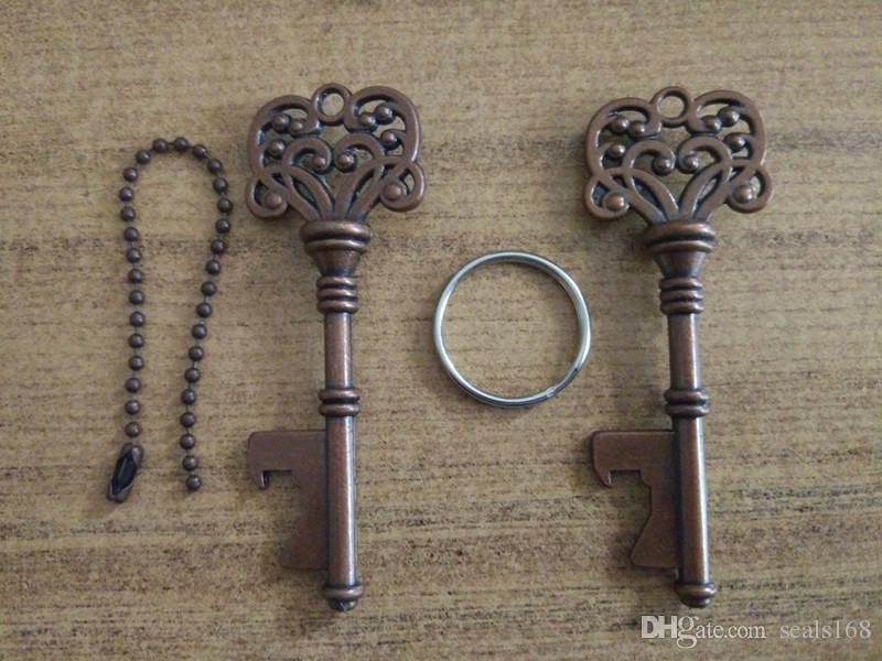 Portachiavi apri dell'annata Bottiglia di birra metallo Coca Can Opening Tool con anello e catena Linea Kitchen Bar Strumento HH7-984