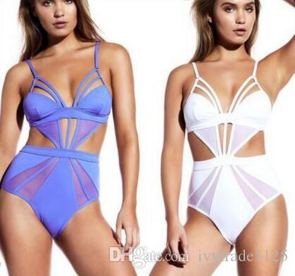 nueva llegada Bkini moda Lady flores Stripped print Bikini Set sexy Hollow out traje de baño Triángulo unos pedazos bikini set S / M / L / XL