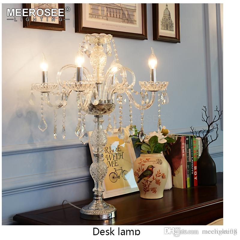 Hot Sale Crystal Table Light Fixture Elegant Desk Lamparas Good Quality K9 Lustre For Bedroom Living Room Chandelier Parts Brass