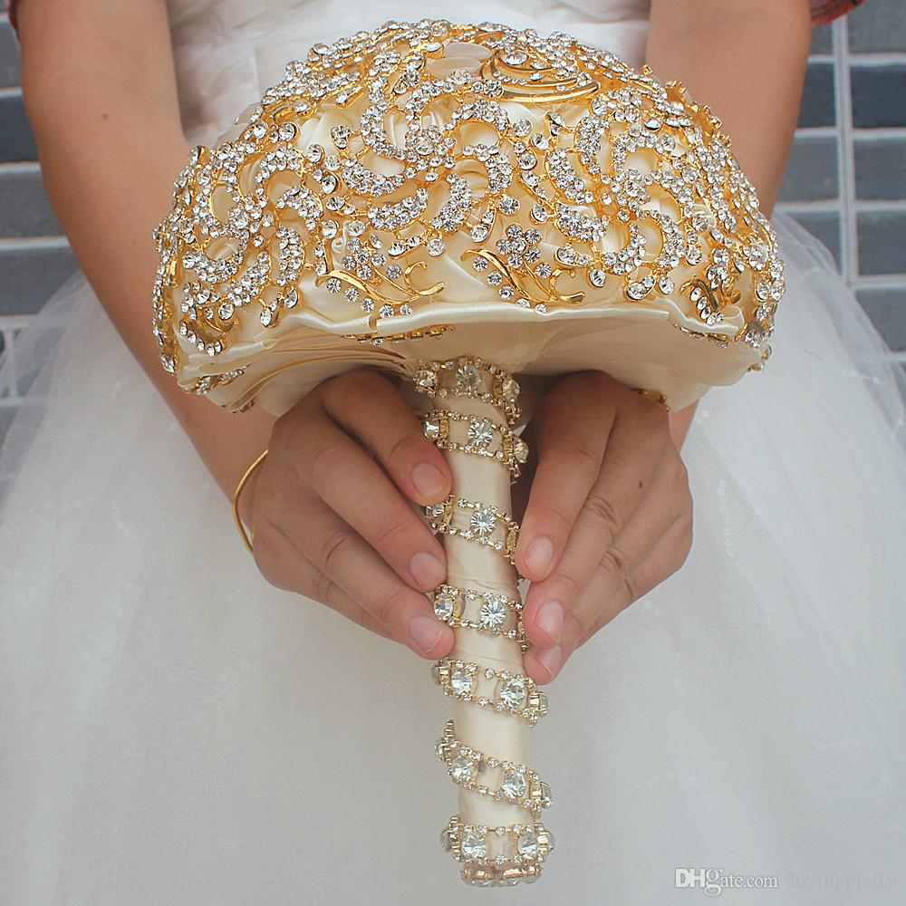 Luxurious Bridal Bouquets For Wedding Royal Gold Crystal Rhinestone Bride Flowers Brooch Bouquet For Bridesmaids Gold Glitter Buque De Noiva