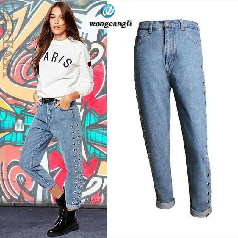 color brilliancy wide varieties best place for Women Summer Pants fall new jeans 2017 BF wind high waisted jeans boyfriend  femme loose pants rivets hollow metal corns