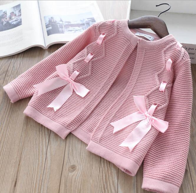 Kinder Häkeln Stricken Pullover Mädchen Stricken Bogen Strickjacke Babys Winter Prinzessin Outwear Baby Mädchen Kleidung Kinder Kleidung