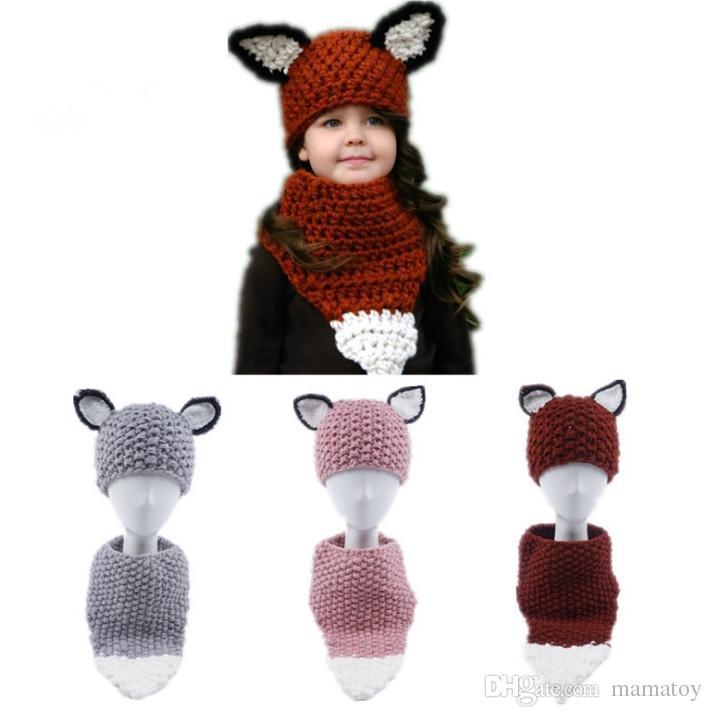ottima vestibilità online selezione mondiale di Bambini inverno cappelli a maglia sciarpa bambini volpe uncinetto tappi  bambini caldo hadmade beanie ragazze del fumetto animale scialle poncho ...