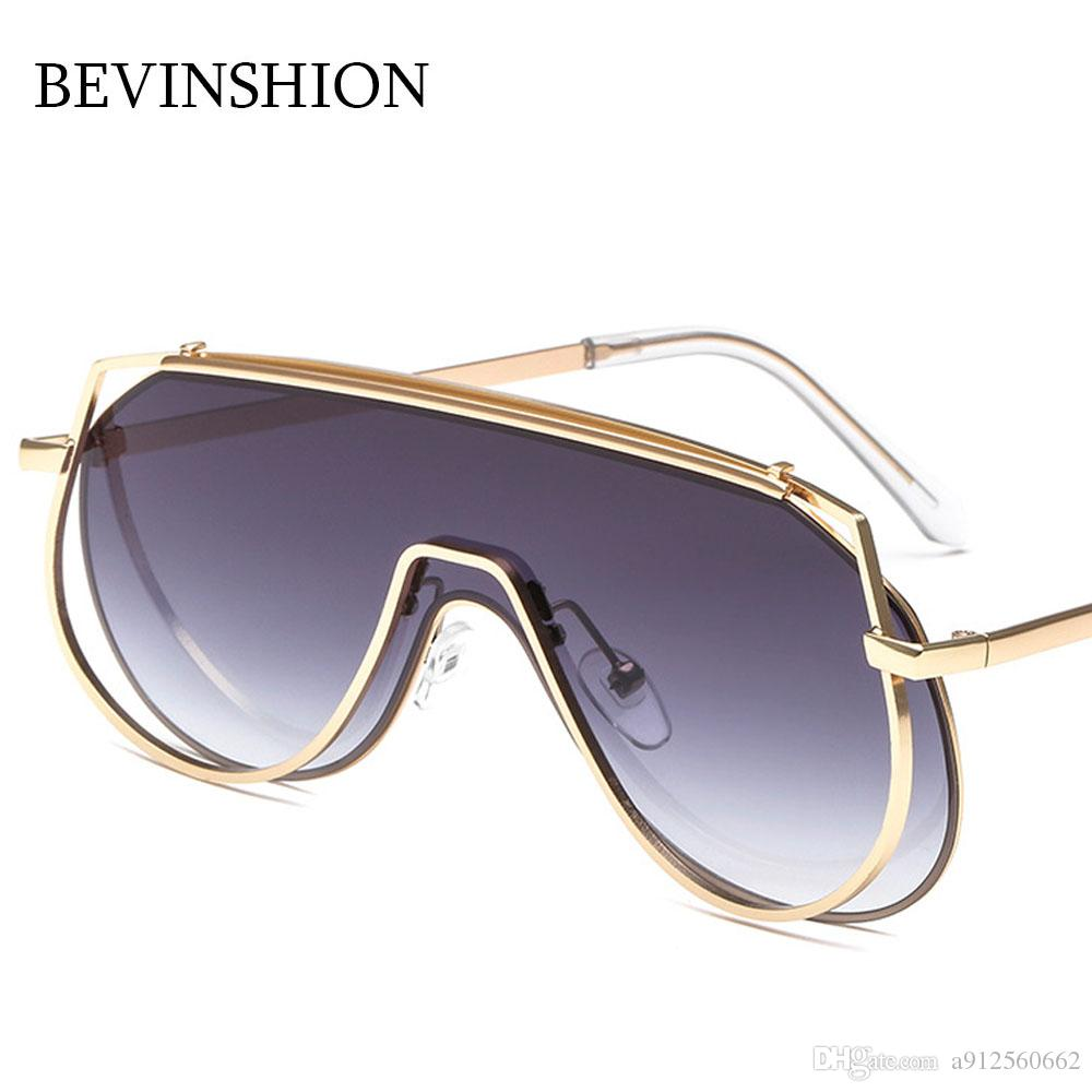 65a159006a One Piece Brand Oversize Sunglasses Women Goggles Shield Rimless ...
