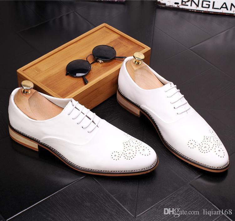 Marka Erkekler Lace Up Brogue Oxford Hakiki Deri Resmi Elbise siyah Ayakkabı Ofis Parti Düğün Ayakkabı Boyutu 38-43