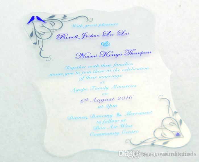 wholesale die cut clear acrylic invitation with blue color printing