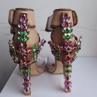 Hot Sexy Spike Heel Lock Up Rhinestone Sandals Hollywood Star Celebrity Summer Fashion High Heel Peep Toe Sandals Shoes Women