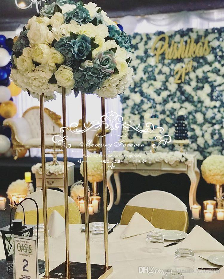 Grosshandel Neue Stil Hochzeit Metall Gold Farbe Blumenvase Saule