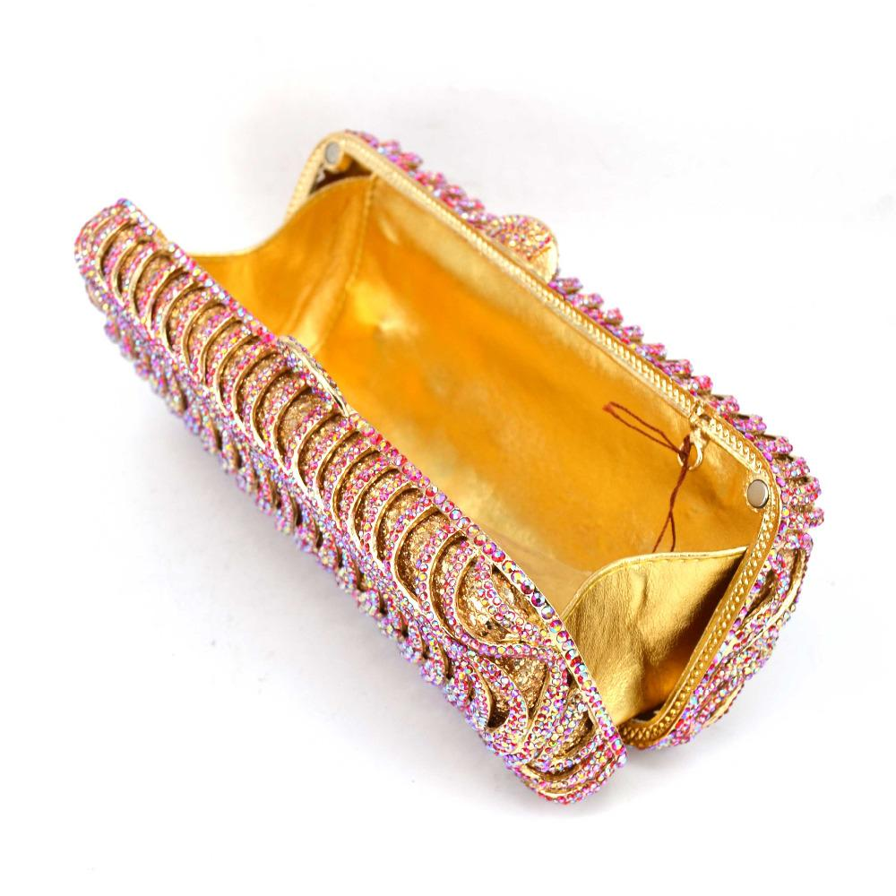 Luxury Crystal Evening Bag AB Fuschia Designer Party Wedding Women Clutch Bag banquet Bag Ladies Purse SC578