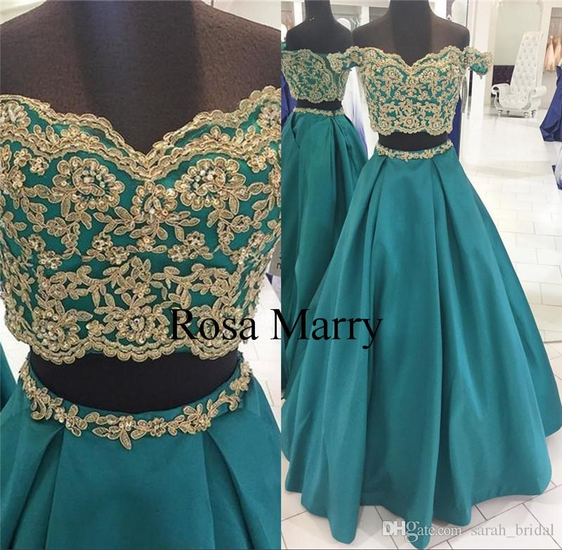 919f32a973 Hunter Green Two Pieces Long Prom Dresses With Pockets 2018 Off Shoulder  Plus Size Gold Lace Appliques Cheap 2K17 Formal Evening Party Gowns Long  Prom ...