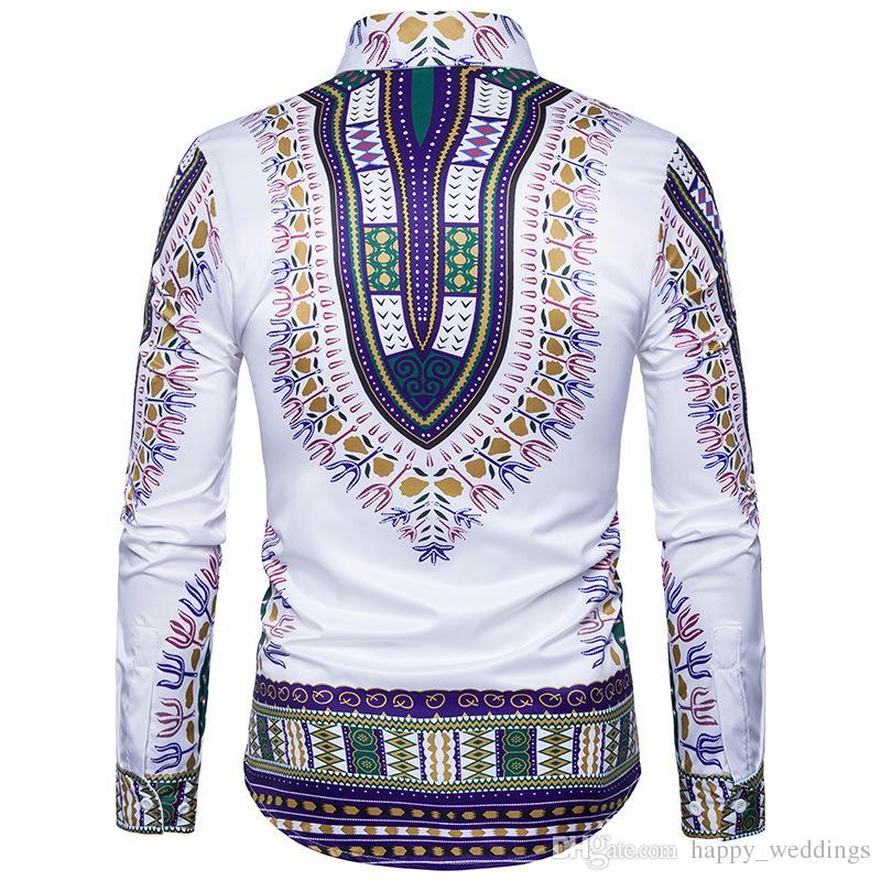 Traditionelle afrikanische Dashiki Shirt Männer 3D Print Männer Shirt Langarm Slim Fit Männer Shirts Casual Baumwolle Mens Dress Shirts