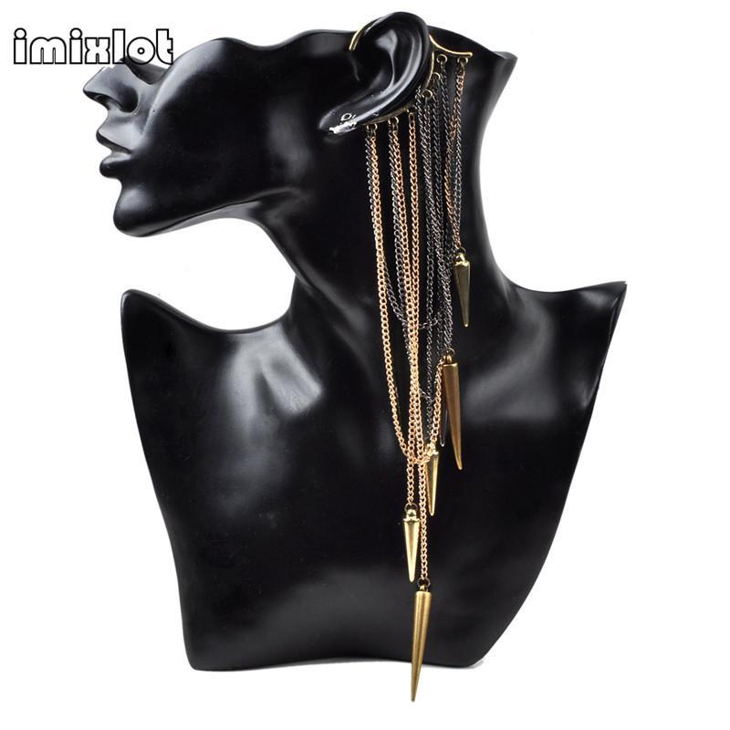imixlot Hot Vintage Punk Rivets Spike Long Tassels Gothic Temptation Metal Ear Cuff Earrings Wrap Clip Jewelry Drop Free