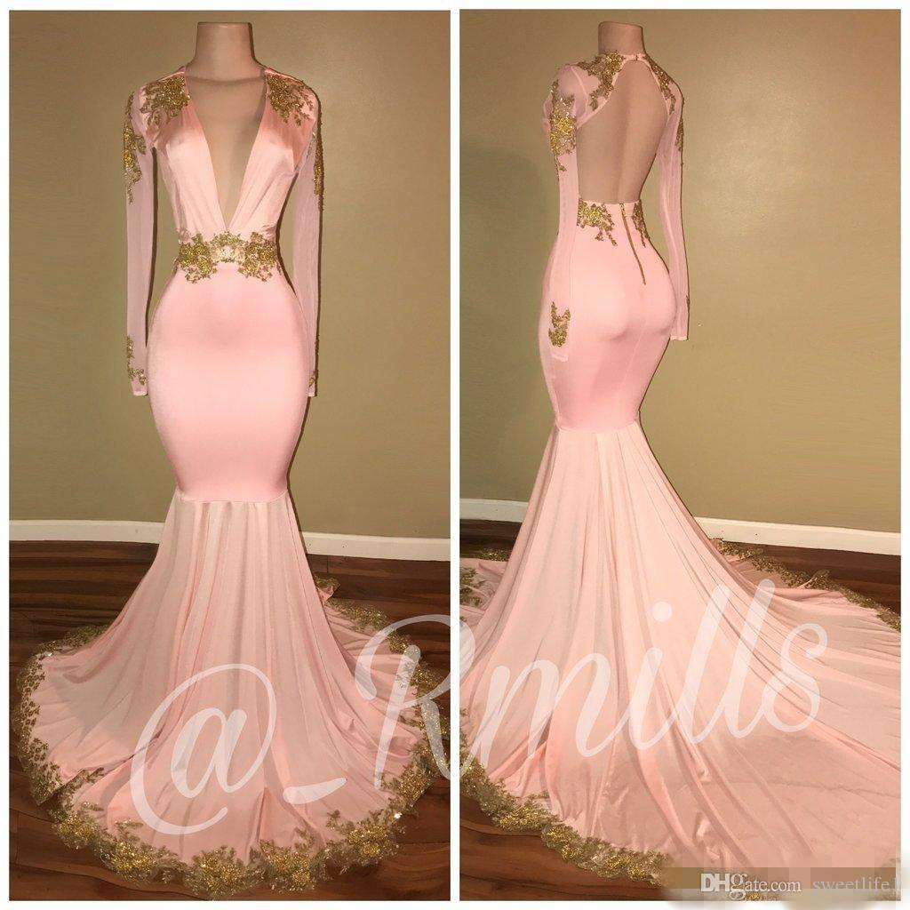 2020 Sexy Backless Pink Prom Dresses Mermaid Deep V-hals Lange mouwen Gouden Applicaties Avondjurken Maxi Wear