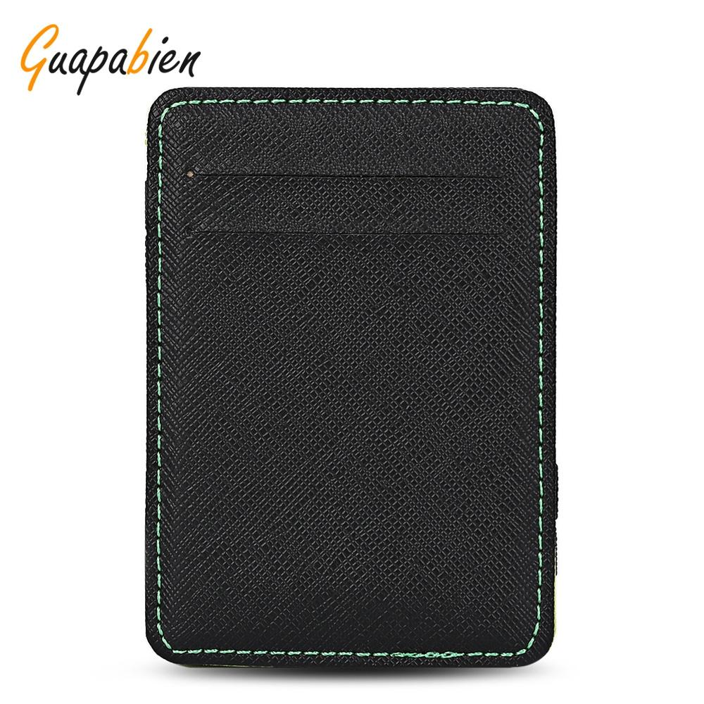6eb7140d47c Guapabien Casual Style PU Leather Mini Card Holder Money Clip for ...