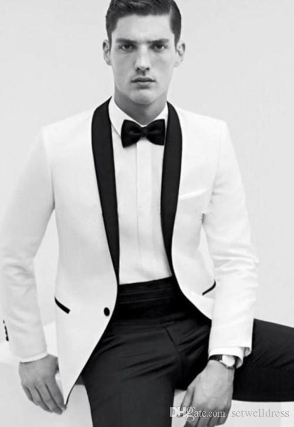 2018 Cheap Two Pieces White Groom Tuxedos Black Shawl Collar Best Groomsmen Suit Slim Fit Men Wedding Suits Jacket+Pants+Tie