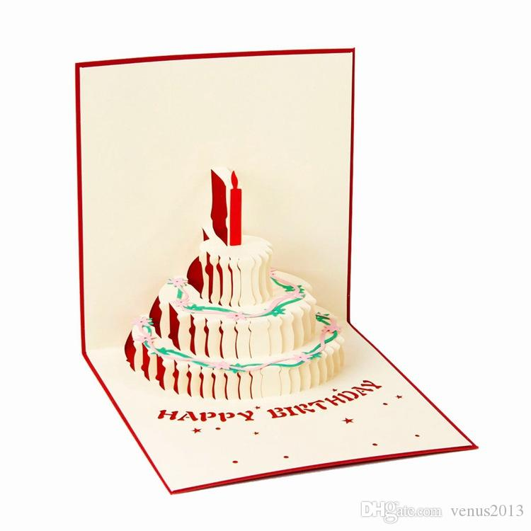 3D Pop Up Greeting Card Handmade Happy Birthday Easter Valentines Day Cake candle invitation gift cards party festive supplies