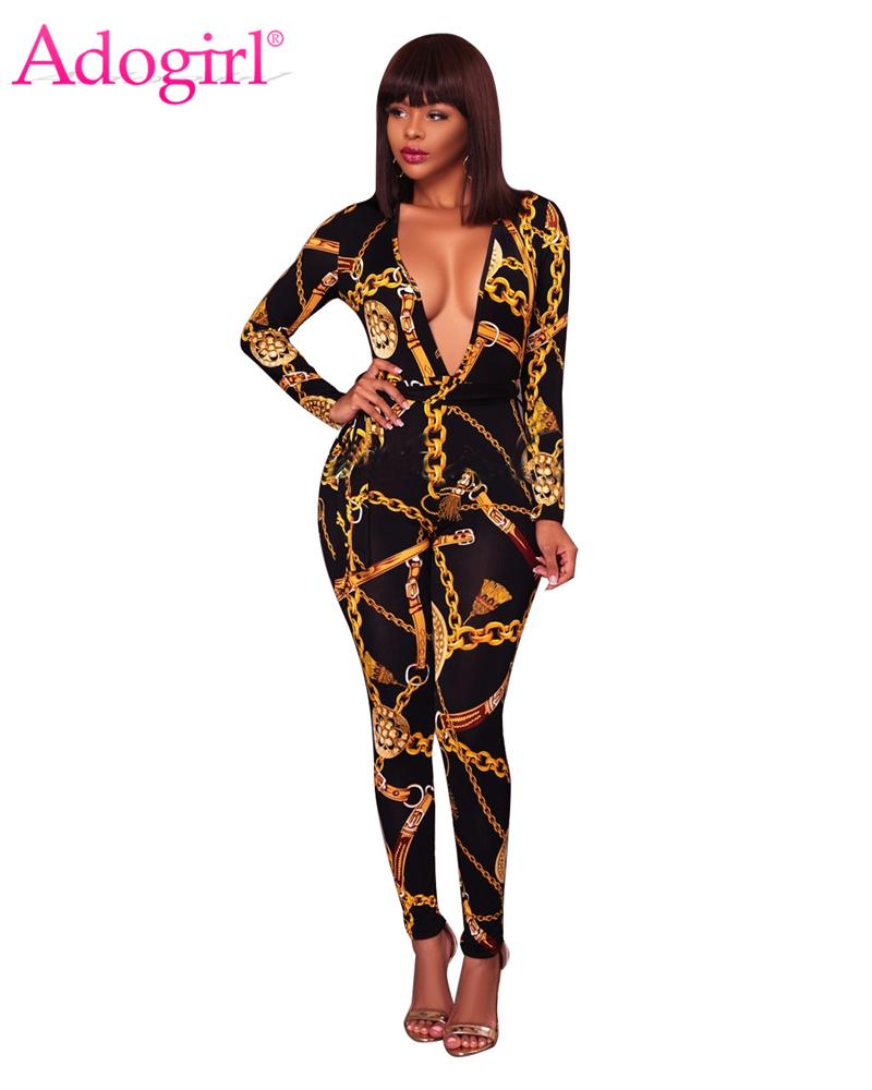 b6d3e4a32ad 2019 Adogirl Fashion Gold Chain Print Plus Size Women Jumpsuits Sexy  Plunging Deep V Neck Long Sleeve Bandage Rompers Ladies Overalls From  Finebeautyone