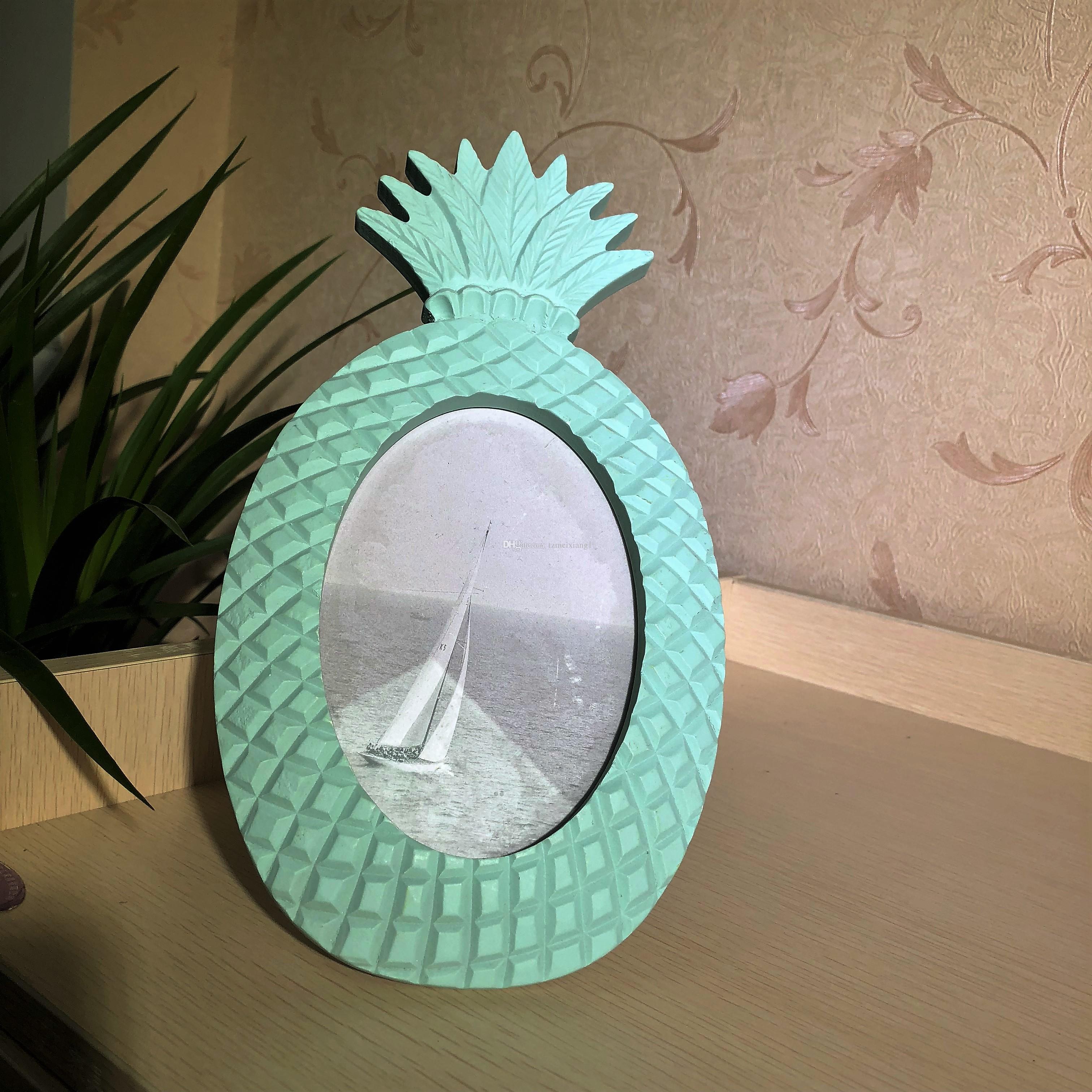 Blue Pineapple Shaped Wooden Photo Frame Nordic Style Retro Children Gift Wooden Frame Decoration Desktop Photo Frame