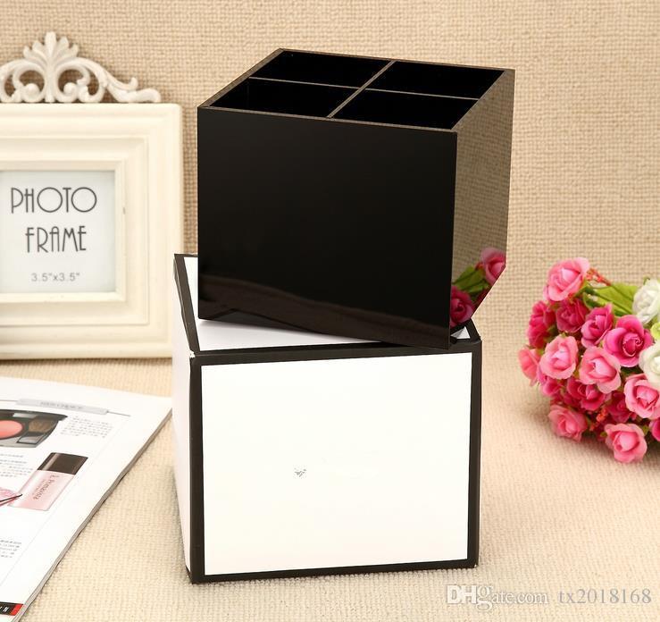 New Classic High-Grade-Acryl-Toilettenartikel 4 Grid Aufbewahrungsbox Kosmetik-Zubehör Lagerung Kosmetikpinsel Lagerung Vip Geschenk 2018