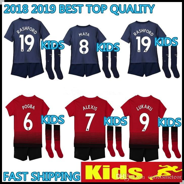 KIDS KIT 2018 2019 MAN POGBA Soccer Jerseys United 18 19 Football Shirt  ALEXIS LINDELOF RASHFORD MKHITARYAN LUKAKU MARTIAL JERSEY MAN POGBA Soccer  Jerseys ... fc84ec23b