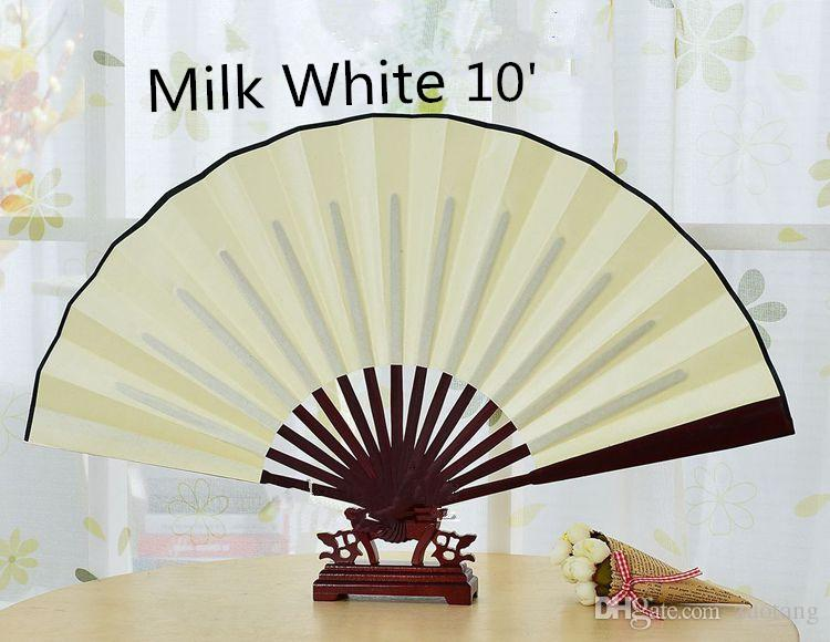 Chinese Folding Fan DIY White Black Gold Red Hand Large Wedding Silk Fans Personalized Adult Fine Art Painting Program 10 Inch