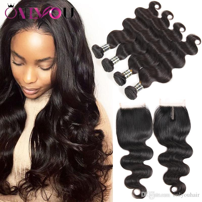 2019 Malaysian Body Wave Virgin Hair 4 Bundles With Top Lace Closure