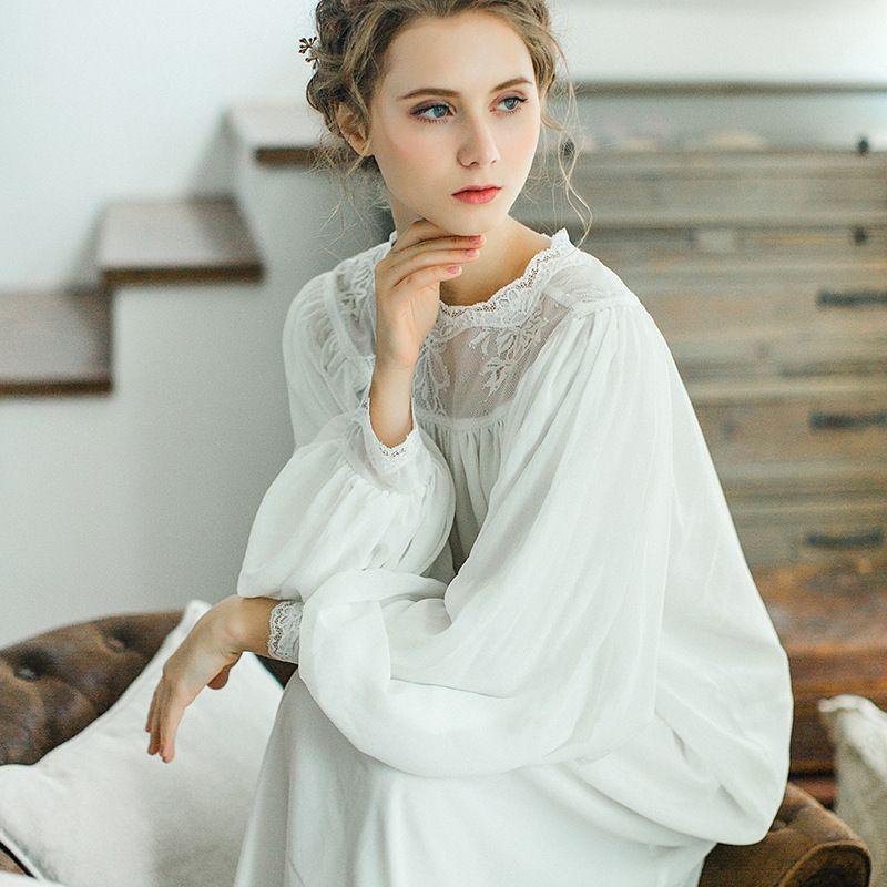 2019 Female Cotton Nightgown Long Sleeved Lace Nightdress Elegant French  Court Retro Romantic Princess Autumn Dress Sleepwear From Jellwaygood 06edf2dd3