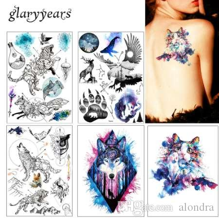 57f55f9c7 1x DIY Body Art Temporary Tattoo Colorful Animals Watercolor Painting  Drawing Horse Butterfly Decal Waterproof Tattoos Sticker Temporary Tattoo  Transfers ...