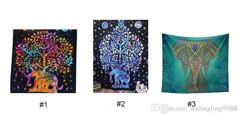 최신 침대 침구 코끼리 태피스트리 착색 한 인쇄 된 장식적인 만다라 태피스트리 인도 Boho 벽 양탄자 비치 타월 6 개의 색깔