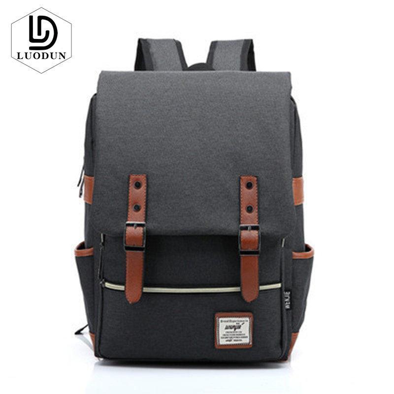 0c5b6ff1274 LUODUN Retro Men Women Canvas Backpacks School Bags For Teenagers Boys Girls  Casual Rucksacks Travel Bag Laptop Bag Male Cute Backpacks Hiking Backpack  From ...