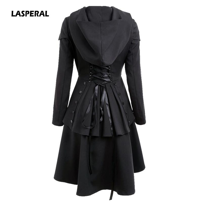 2019 LASPERAL 2017 Women Autumn Winter Coat Layered Lace Up High Low Hooded  Coats Trench Euro Style Back Cross Bandage Hooded Trench From Yanmai 4856e2a2c
