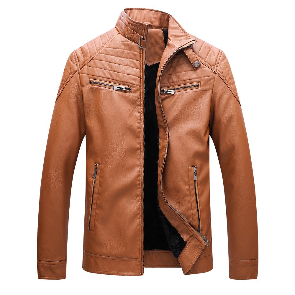 Mixcubic 2018 England Style Warm Fur Pu Leather Jackets Men Casual
