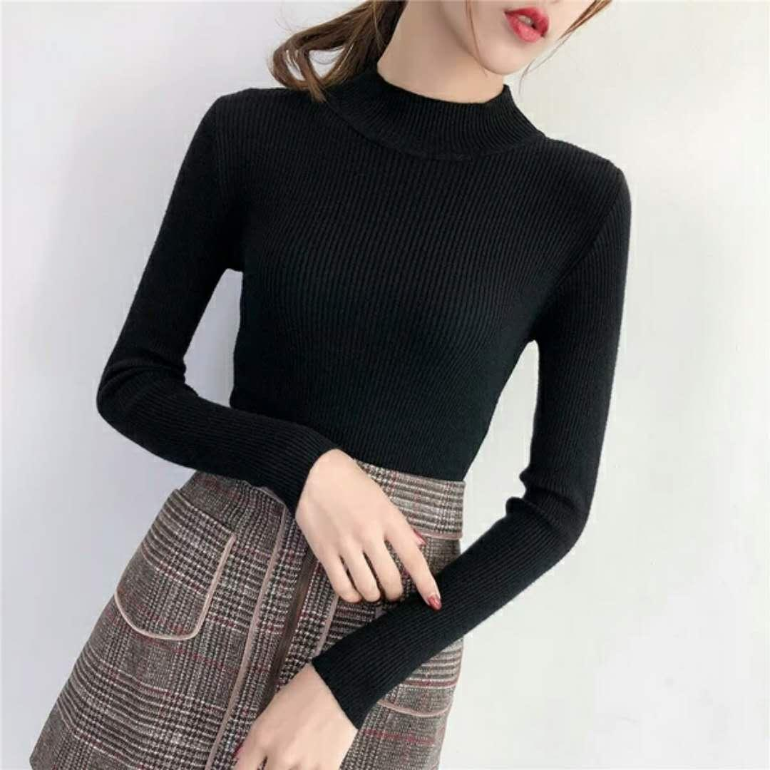 4054cf13623 2019 New Fashion Autumn Winter 2018 Women S Half High Neck Pullover Short  Style Sweater Slim Body Tight Long Sleeve Bottom Knitted Sweater From  Hy502