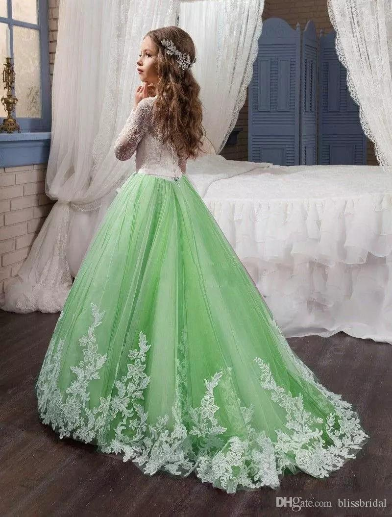 Beautiful Mint Green Flower Girl Dresses for Weddings with White Lace Long Sleeves Appliques Kids Formal Wear First Communion Dress