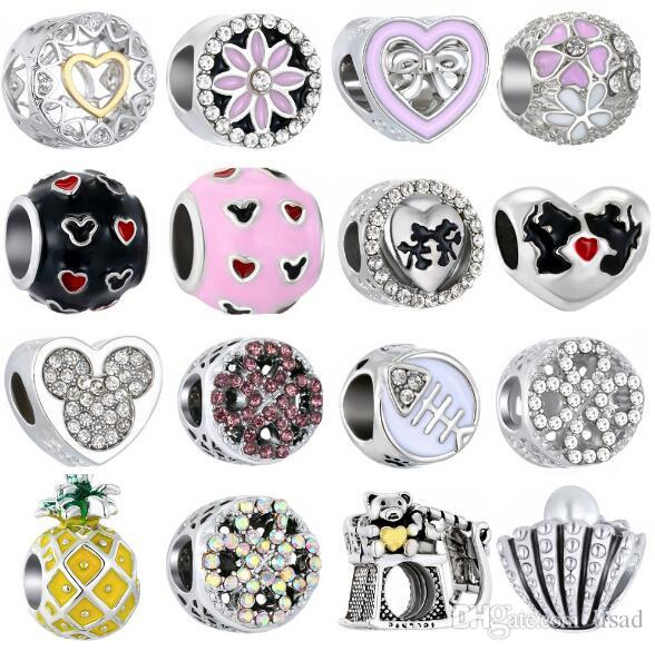 2018 New Style Diamond Alloy Big Loose Beads Charms for Bracelets  Pendants,four leaf,micky Charms,Mix-type is ok
