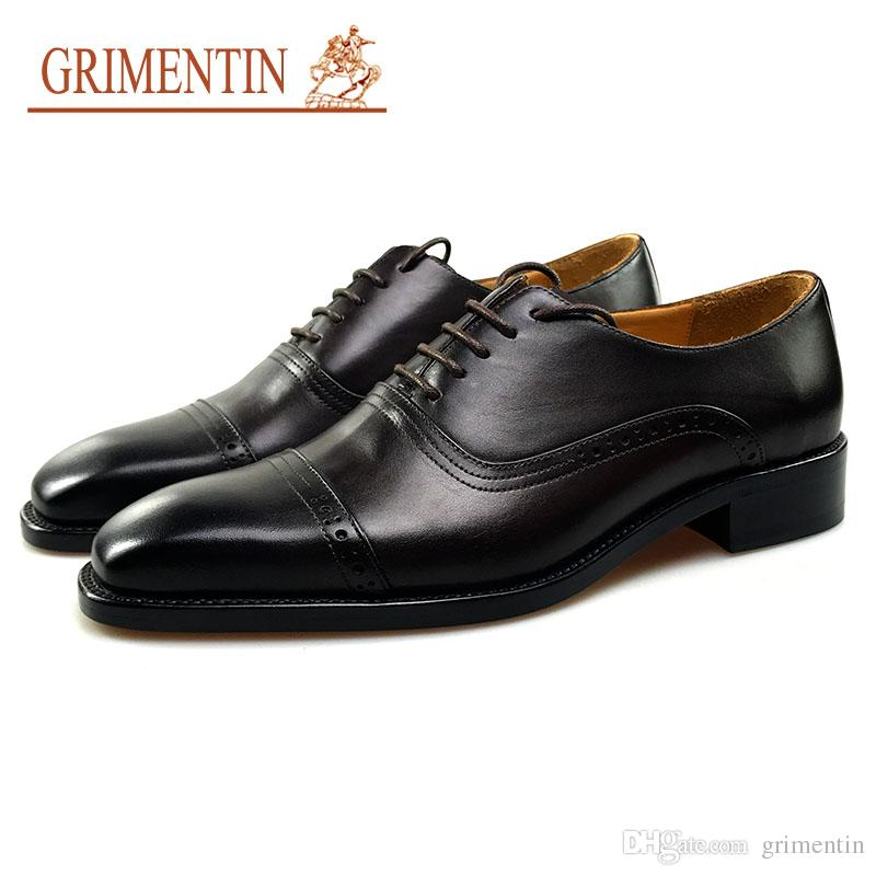 000c21006728f GRIMENTIN Handmade Brogues Men Dress Shoes Whole Full Genuine Calf Leather  Luxury Carve Formal Shoes For Business Wedding Size 6-12 G23 Men Formal  Shoes ...
