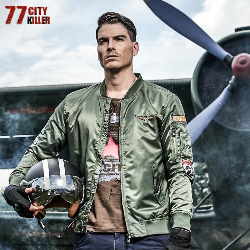 c57c02a283 77City Killer Pilot Bomber Jacket Men Stand Collar Men Outwear Casual Air  Force Flight Jacket Plus Size 6XL Jaqueta Masculina Sweater Jacket Sports  Jackets ...