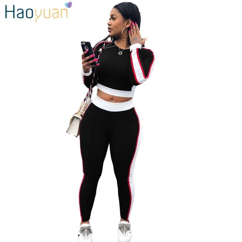 78908a98a6960 2019 HAOYUAN Plus Size Two Piece Set Sweatsuit Long Sleeve Top And Bodycon  Pants Suit Sexy Tracksuit Ladies Fitness Outfits For Women From Philipppe