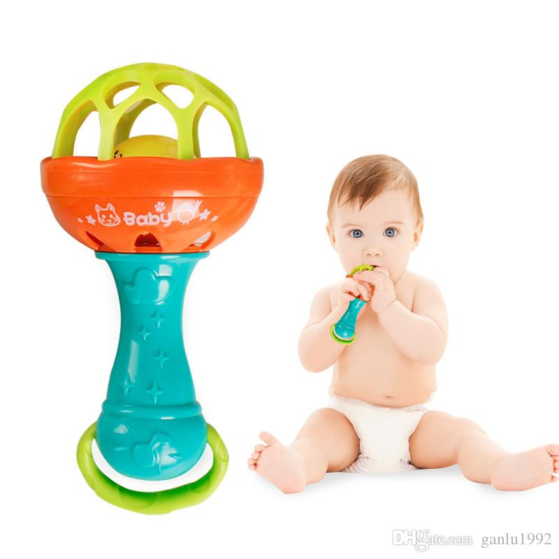 Wooden Bead Ring Rattle Handbell Baby Grasping Sensory Educational Music Toy