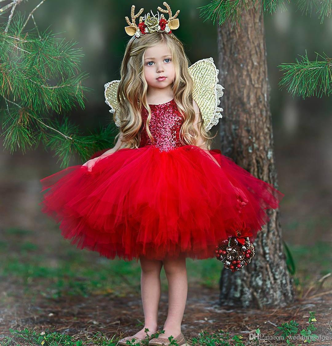 ab47124115 Sparkly Red Sequined Flower Girls Dresses For Wedding Cheap Christmas  Toddler Pageant Gowns Knee Length Tulle Ball Gown Kids Prom Dress Flower  Dress Girls ...