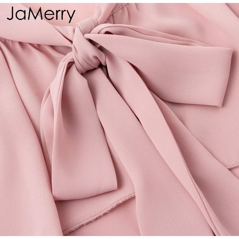 JaMerry Elegante blusa con volantes de manga acampanada para mujer Blusa de gasa casual blusa de gasa 2018 Otoño invierno camisa de mujer tops mujer