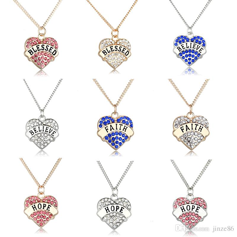 abf32e11b3d0 Wholesale Letter Sign Necklaces For Women Blue Crystal BLESSED BELIEVE  FAITH Gifts Heart Shaped Rhinestone Pendants HOPE Letter Design Jewelry  Amethyst ...