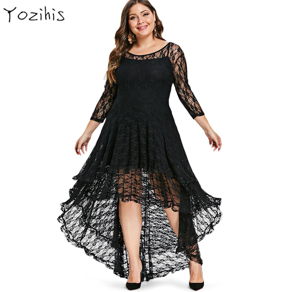 Yozihis New Women Plus Size High Low Lace Dress with Cami Dress 3/4 Length  Sleeves See-Thru Asymmetrical Lady Lace Vestidos