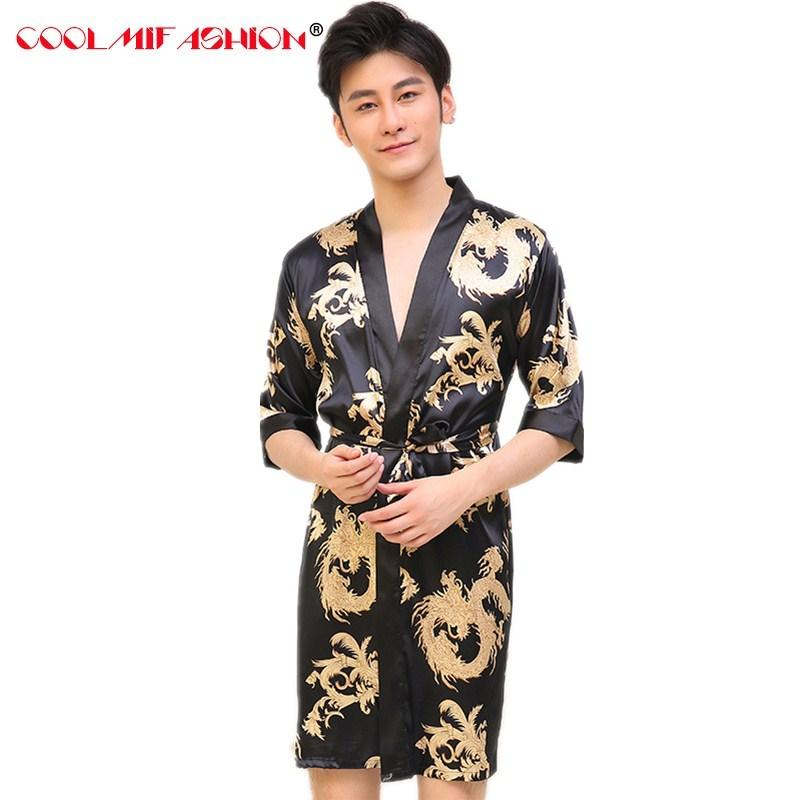 2018 Men Luxury Print Silk Dragon Robes Traditional Male Sleepwear ...