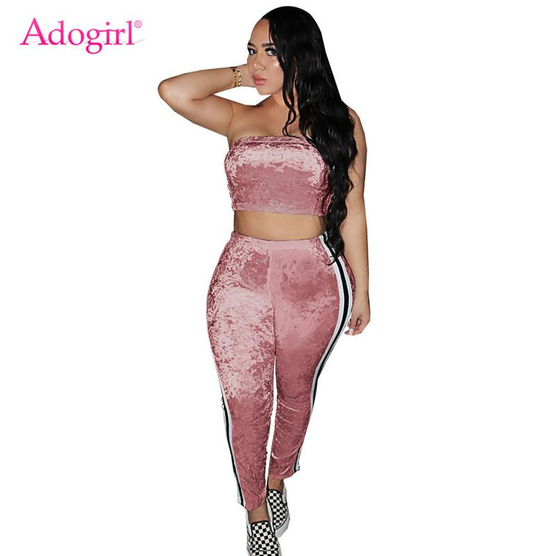 5f4417fe18f 2019 Adogirl 2018 Autumn Velvet Tracksuit For Women Strapless Crop Top Side  Stripe Pants Two Piece Set Plus Size S 2XL Casual Outfits From Cupidcloth,  ...