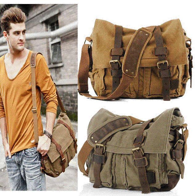 ANAWISHARE Canvas Leather Crossbody Bag Men Military Army Vintage Messenger  Bags Large Shoulder Bag Travel Bags I AM LEGEND Travel Purse Branded  Handbags ...