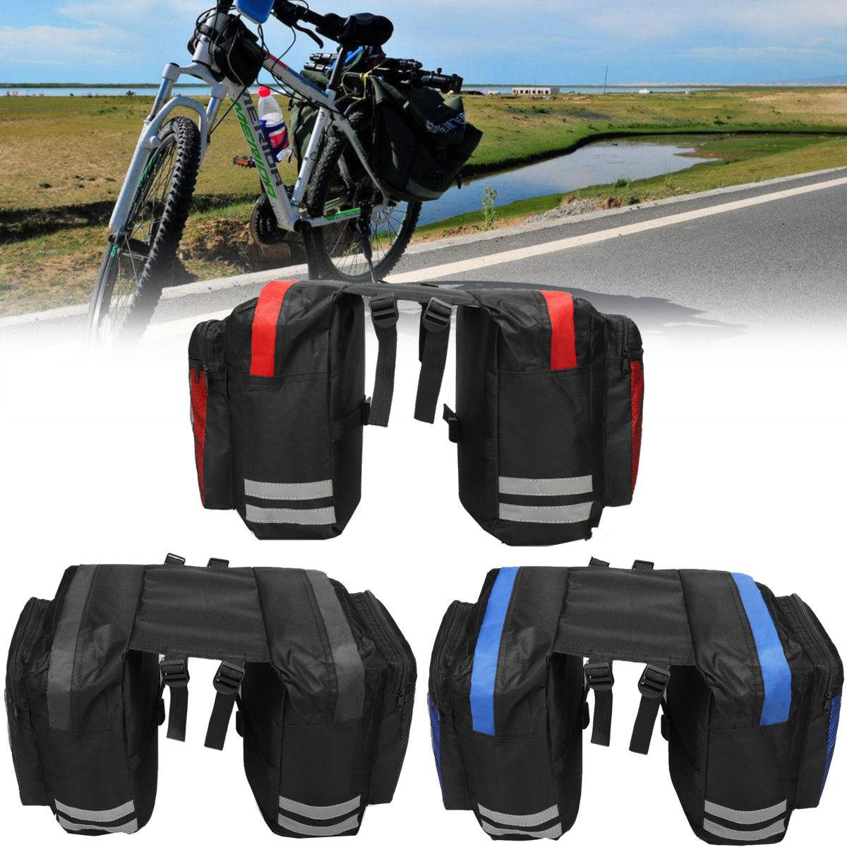Cycling Bicycle Saddle Bag Bike Bags PVC and Nylon Waterproof Double Side  Rear Rack Tail Seat Bag Pannier Bicycle Accessories BBA347