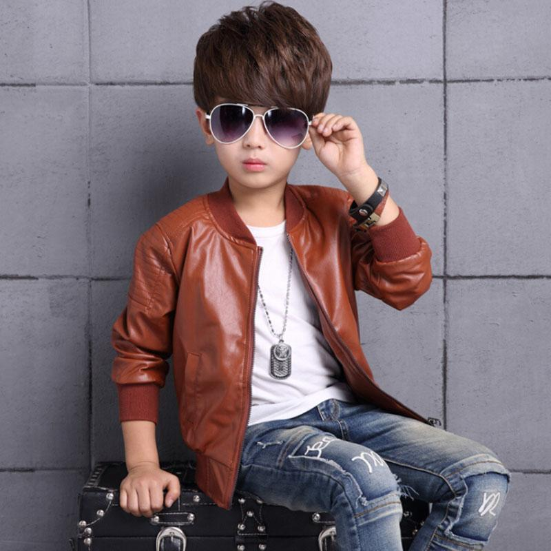 Boys PU Leather Jacket Coat Clothes 2018 Fashion Style Toddler Teen Kids Autumn Winter Outerwear Brown Black Thin Thick Jackets