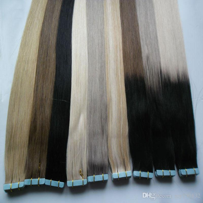 Nastro nelle estensioni dei capelli umani 100g nastro di capelli umani estensione dei capelli umani diritta PU Brasiliana PU pelle di trama pelle